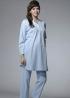 立領半門襟長版哺乳睡衣 1
