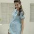 包袖格紋上開式孕婦上衣 1