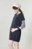 圓領針織孕婦長版束口T 2