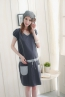 低中腰式口袋V領孕婦洋裝 1