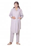 襯衫領前開襟孕婦專用哺乳長睡衣(上衣+長褲)