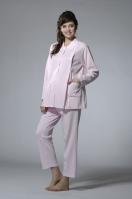 緹花針織綿小圓領長版哺乳睡衣套裝(上衣+調整式長褲)