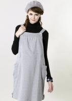 甜美氣質雙釦孕婦吊帶洋裝