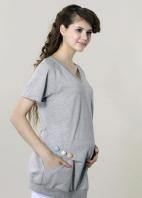 針織V領包釦長版束口上衣