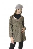 和式造型領印花長袖孕婦上衣