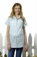 青春水漾中腰格紋綁帶襯衫開襟領長版棉質上衣